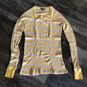 Yellow & Cream/Tan Ribbed Long Sleeve Thermal